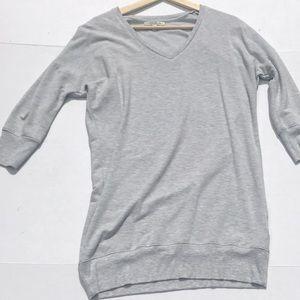 Express One V-Neck Gray Sweatshirt Dress
